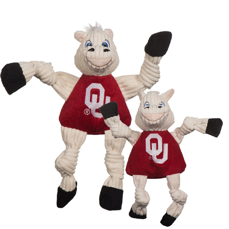 HuggleHounds Knottie Officially Licensed College Mascot Durable Squeaky Plush Dog Toy, Oklahoma Sooners
