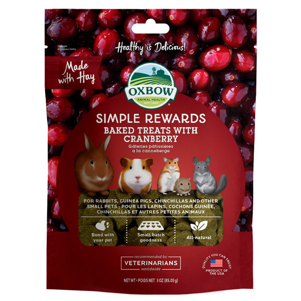 Oxbow Simple Rewards Cranberry Small Animal Treats, 3oz