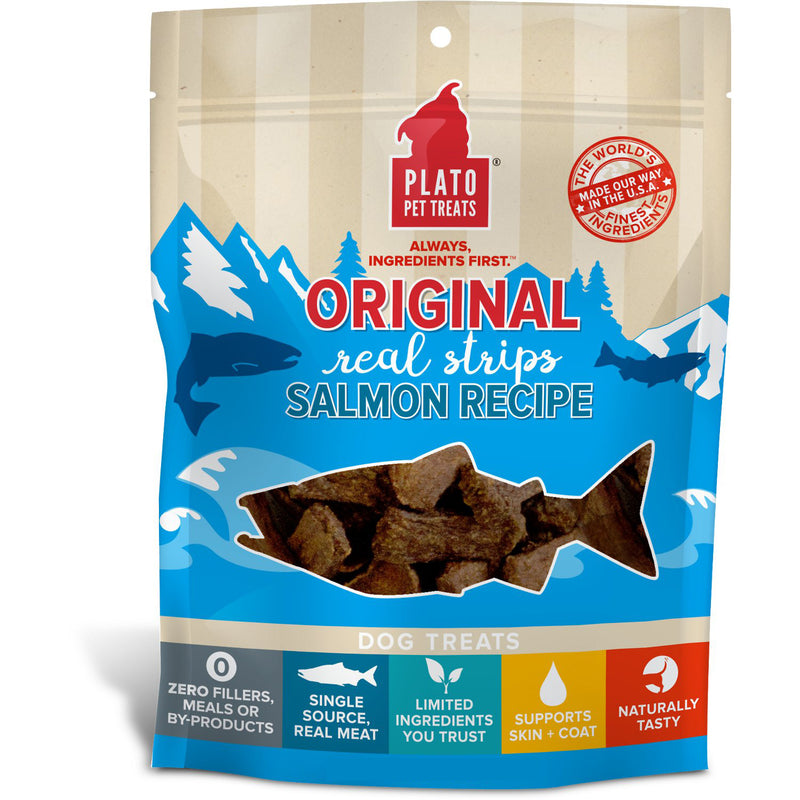 Plato Original Real Strips Salmon Recipe Dog Treats