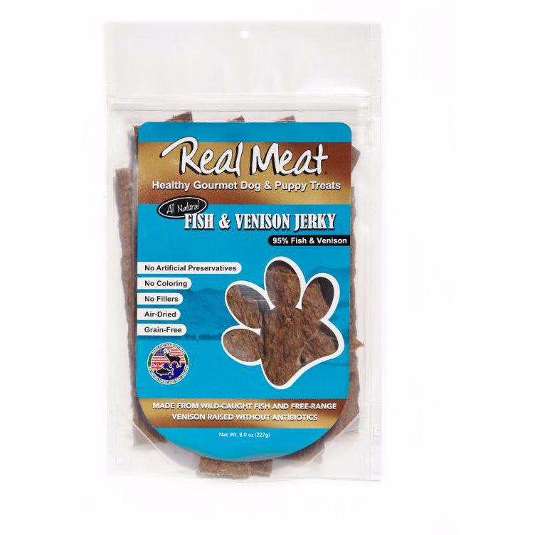 Real Meat Fish & Venison Long Jerky Stix Dog Treats, 8oz