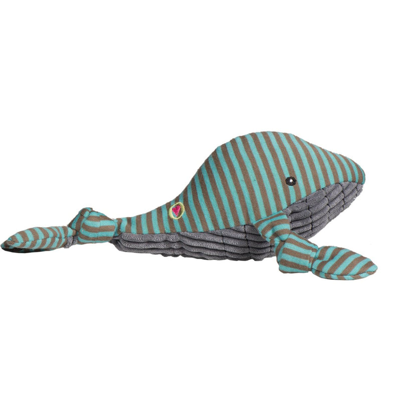 HuggleHounds Knottie Durable Squeaky Plush Dog Toy, Whale