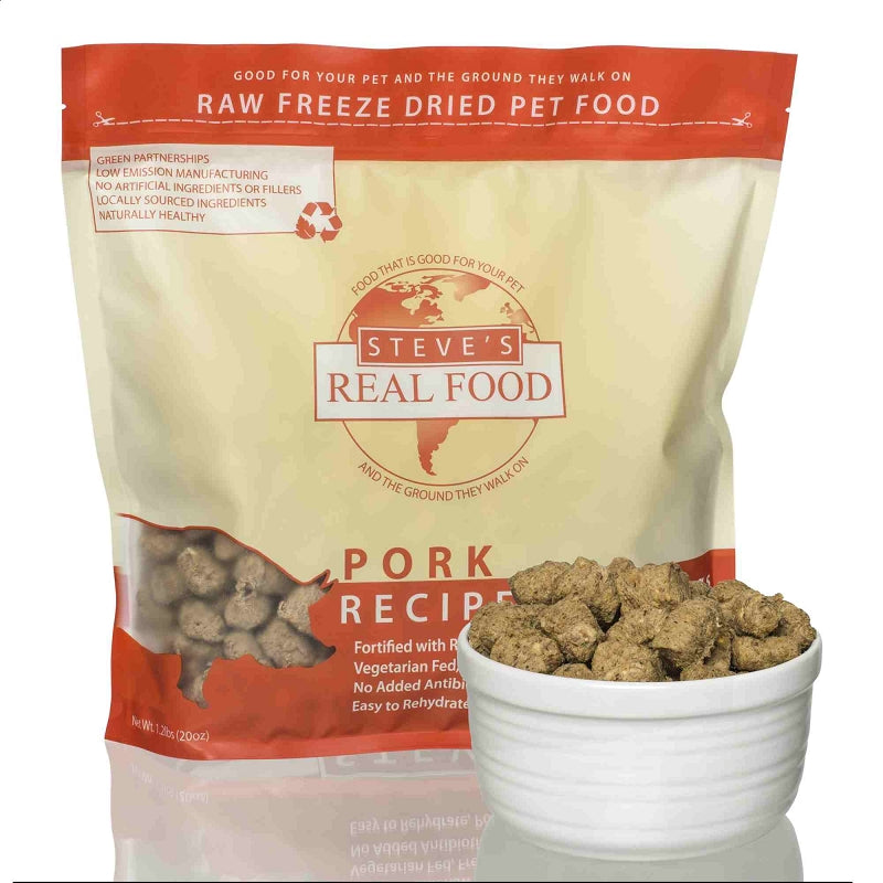 Steve's Real Food Pork Nuggets Freeze Dried Food For Dogs & Cats, 1.25lb