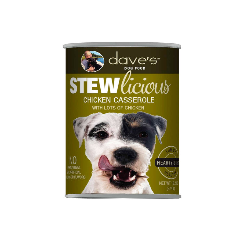 Dave's Pet Food Stewlicious Chicken Casserole Stew Canned Dog Food, 12/13oz