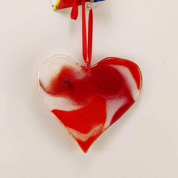 red and white coloured fused glass heart sun catcher