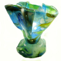 Blue & Green Coloured Handcrafted Fused Glass Lamp/Caribbean Blue Collection