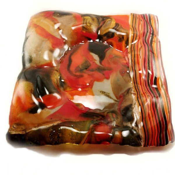 brown & red handcrafted fused glass Square Plate