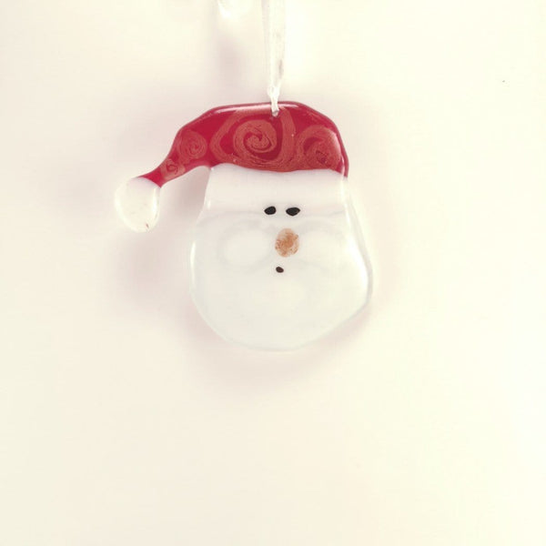 Santa Clause fused glass Christmas Decoration made local by annette whelan