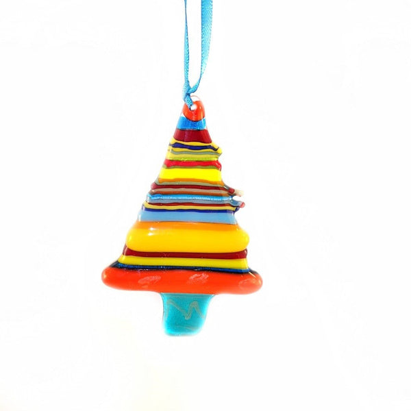 brightly coloured stripy fused glass Christmas tree decoration