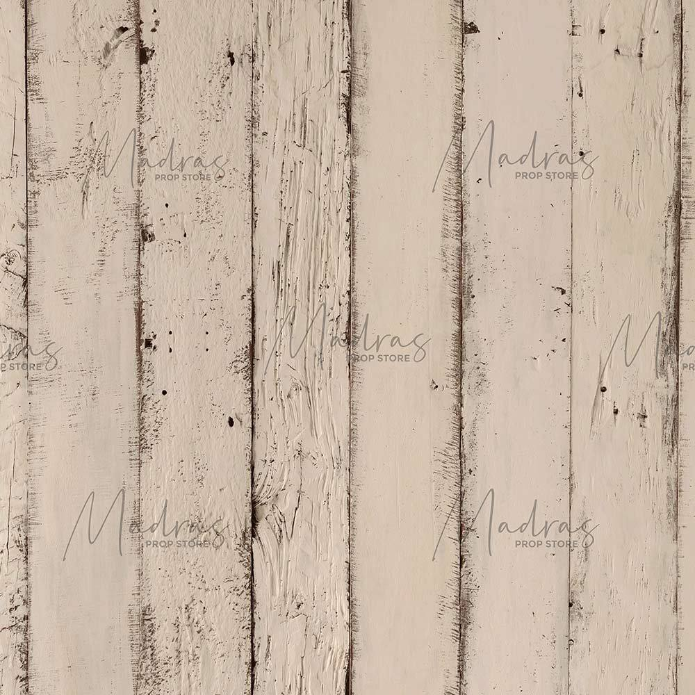 Rentals - Vintage Cream Wood - Printed Baby Backdrops - 5 by 6 feet