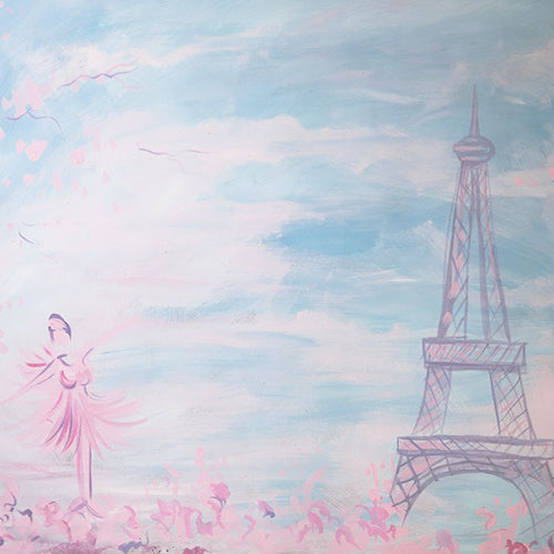 Rentals - Spring Paris - Printed Baby Backdrops - 5 by 4 Feet