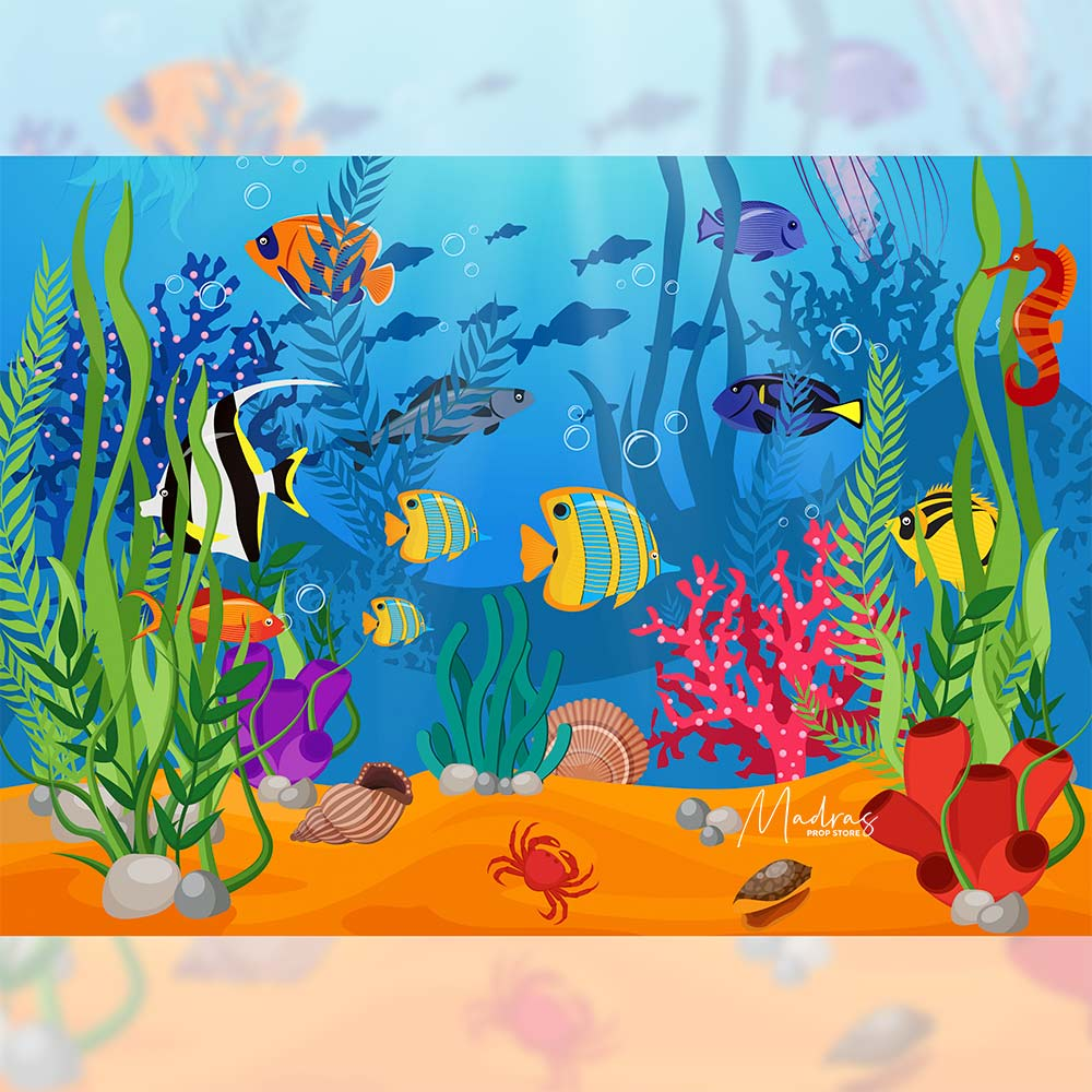 Rentals - Under Sea - Printed Baby Backdrops - 5 by 6 feet - Poly