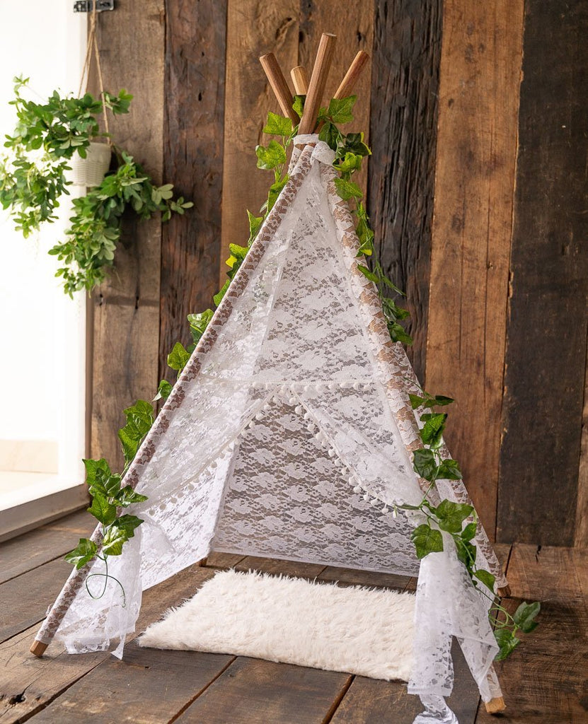 Rentals - White Lace Pompom Teepee Tent