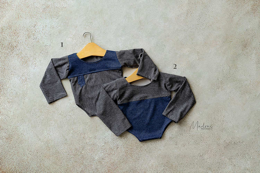 Rentals - Twin romper set blue grey 0 to 1 Months