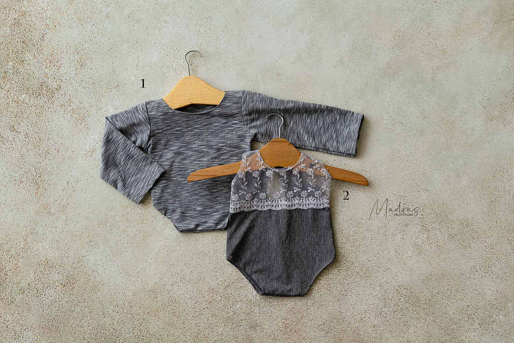 Rentals - Twin romper set grey + lace