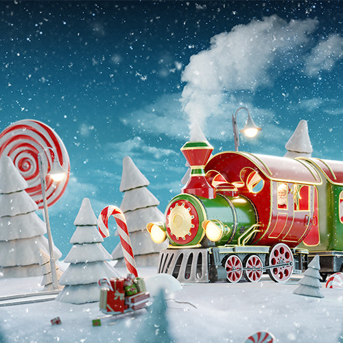 Rentals - Snow Train - Printed Baby Backdrops - 5 by 6 feet