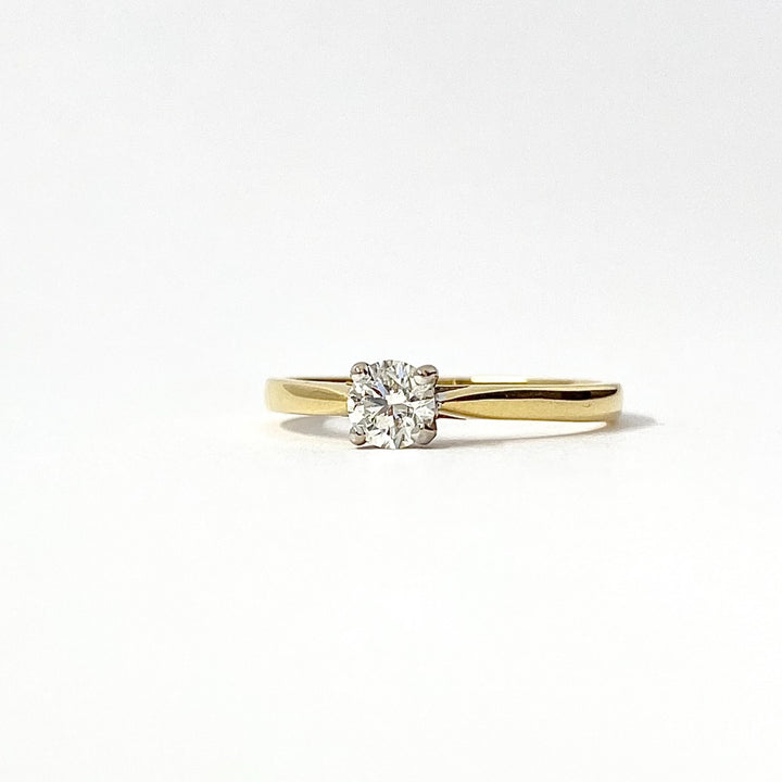 Yellow Gold Round Solitaire Diamond Ring