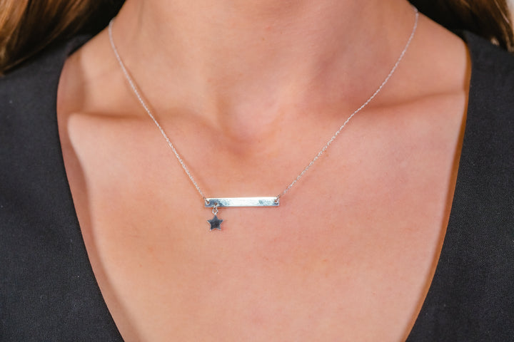 Silver Bar Design Necklet with star drop