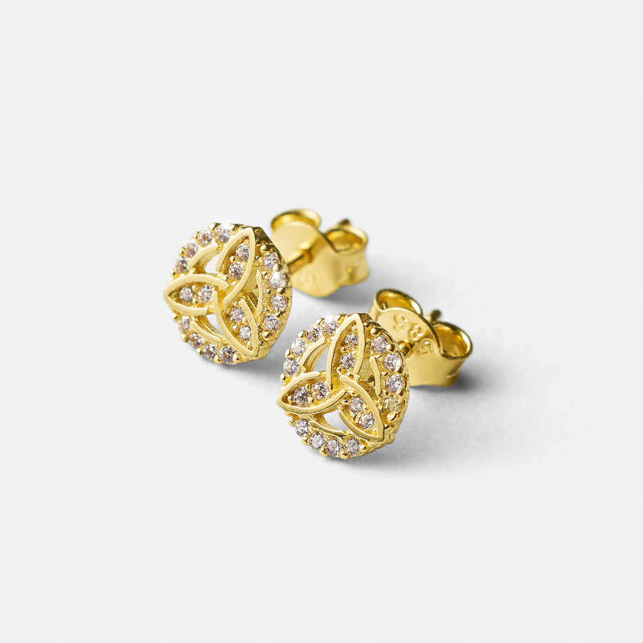 New! Trinity Knot Studs with Stones