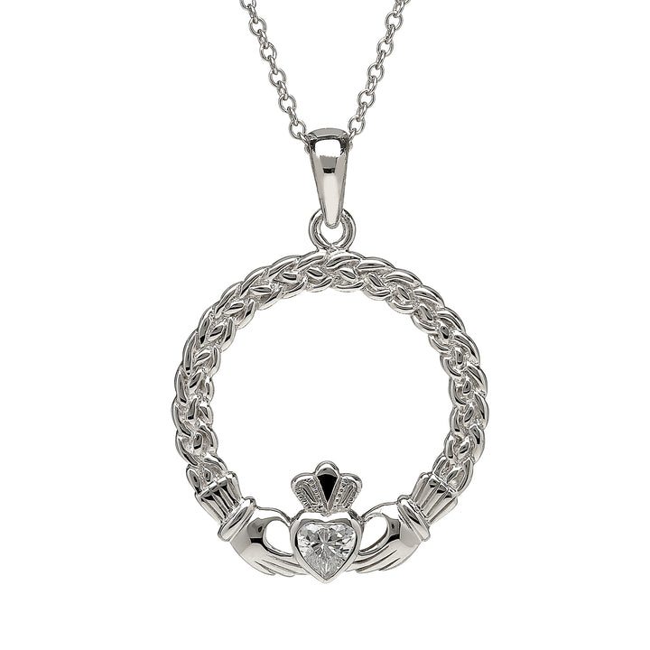 Claddagh with Cz Heart Pendant
