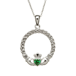 Large Claddagh with Green Cz Pendant