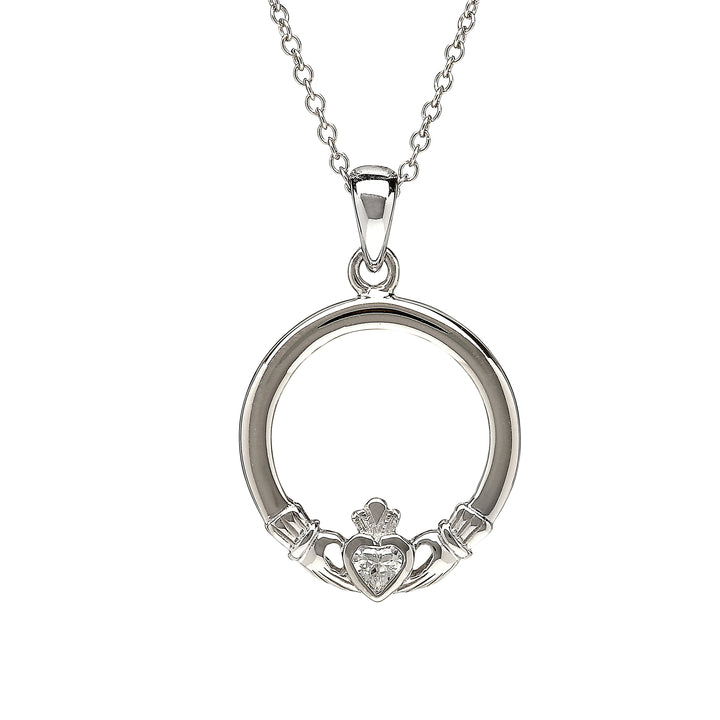 Medium Cz Claddagh Pendant