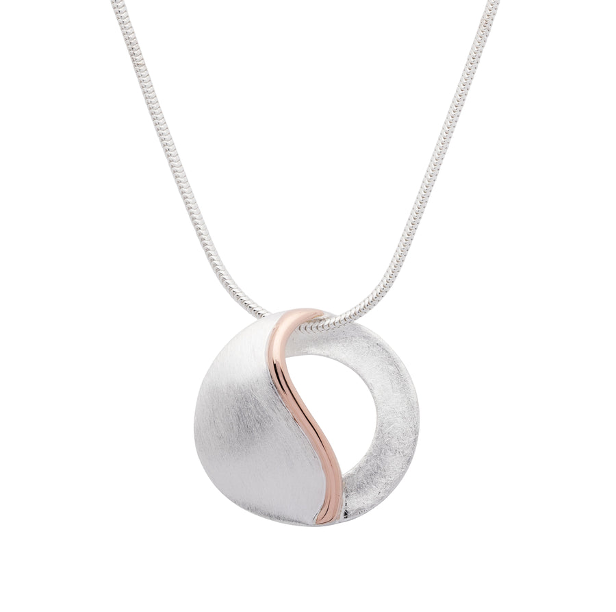 Brushed Finish & Rose Drop Pendant