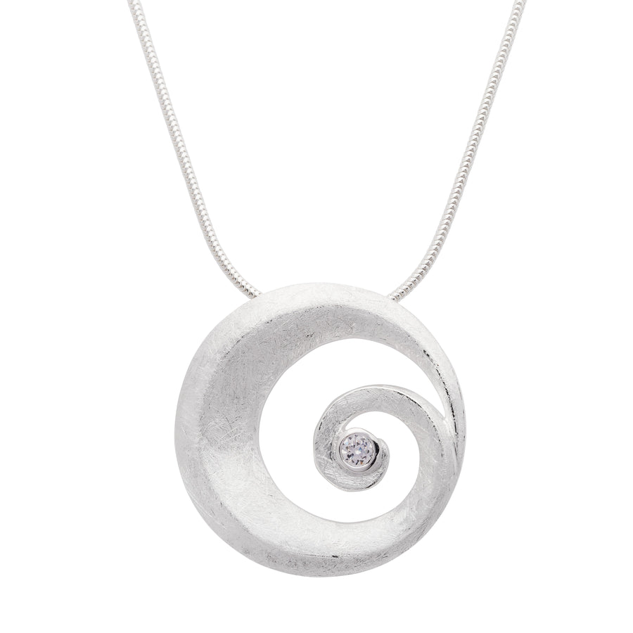 Brushed Sprial Cz Pendant
