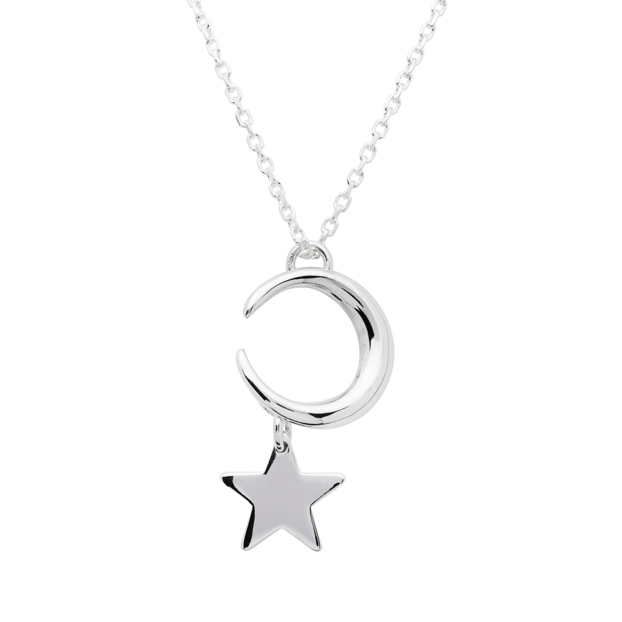 Moon and Star Sterling Silver Pendant - Stóirín