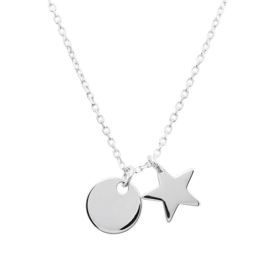 Circular Disc and Star Sterling Silver Pendant Media