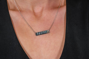 Silver Large Horizontal Ogham with 14k Celtic Symbol