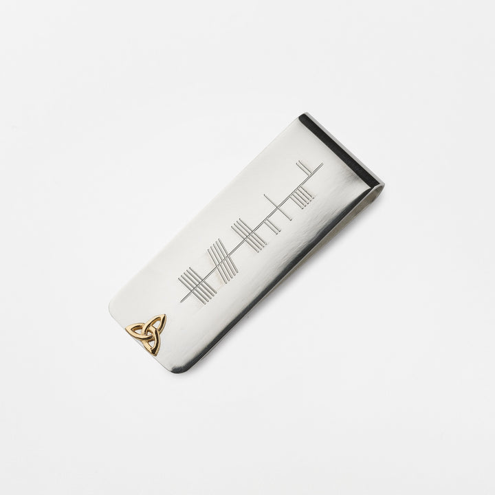 Ogham Money Clip with 14K Symbol