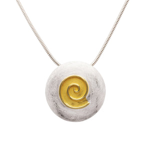 Round Sterling Silver Pendant with Spiral Detail