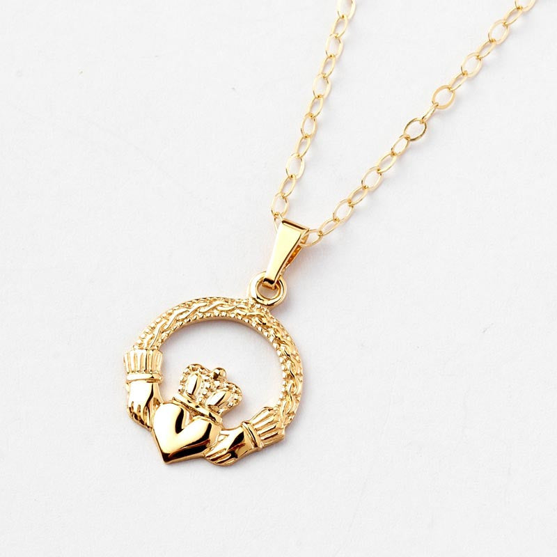 and gold jewelry diamond erin silvergolddiamond irish product sterling pendant giftstore silver claddagh