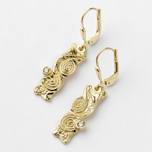 Dovinia Drop Earrings With Diamonds - Brian de Staic Celtic/Irish Jewelry