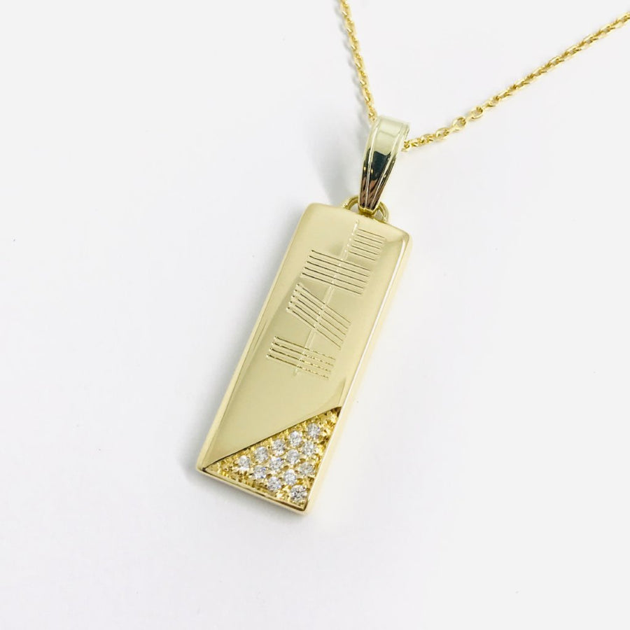 Gap of Dunloe Gold Ingot Ogham Pendant