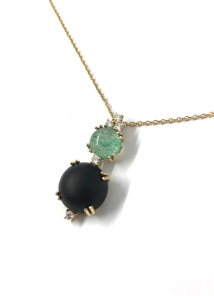 18k Yellow Gold Diamond Necklace with Black Jet and Green Agate Stones