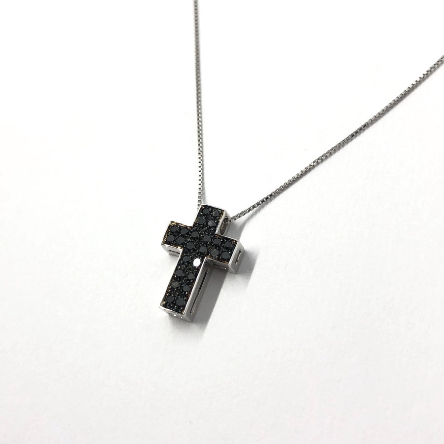White and Black Diamond Cross Necklace