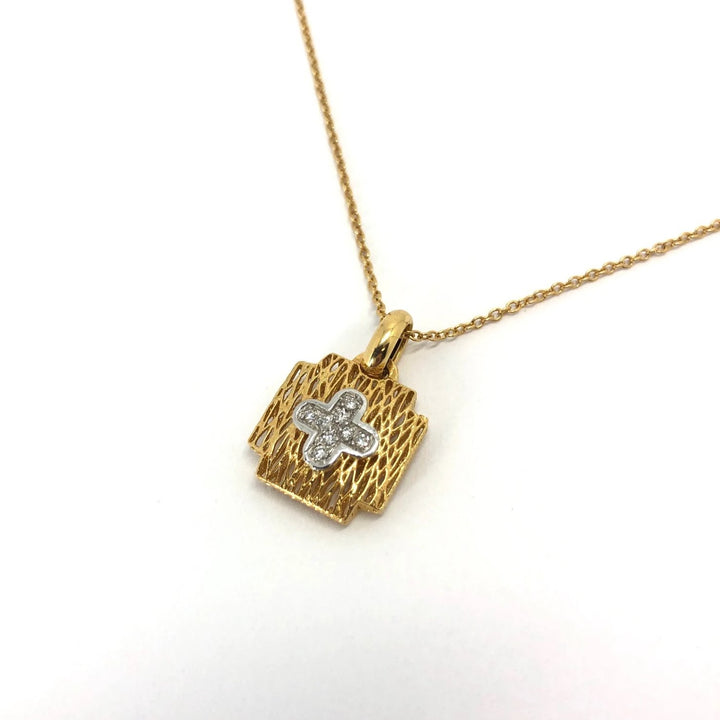 Cill Beag Cross - 18 karat Yellow Gold Diamond Pendant .08ct
