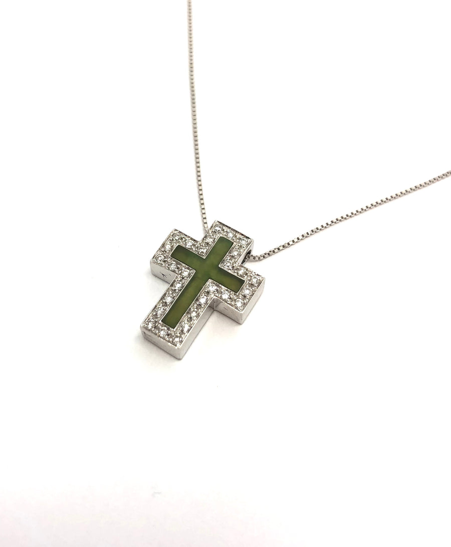 18 Karat White Gold Cross with diamonds .19ct with Green jade insert