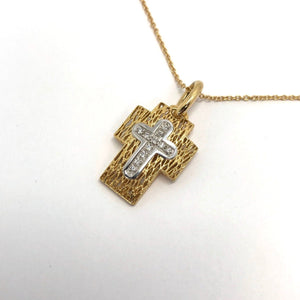 Cill Cross 18 karat Yellow Gold Diamond Pendant .08ct with a cross insert.