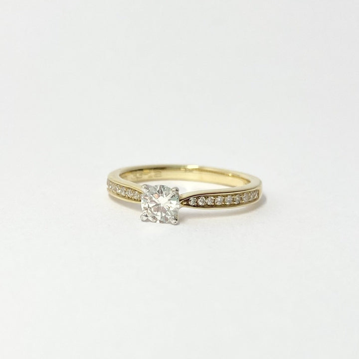 Diamond Solitaire Ring with Stone-Set Band