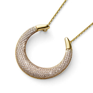 luna diamond gold crescent pendant