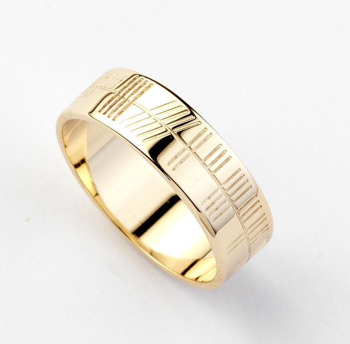 Ogham Gold Ring - Wide - Brian de Staic Celtic/Irish Jewelry