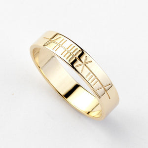 Ogham Gold Ring - Narrow - Brian de Staic Celtic/Irish Jewelry