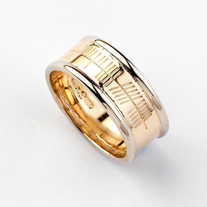 Ogham Gold Ring with White Gold Trims - Narrow - Brian de Staic Celtic/Irish Jewelry