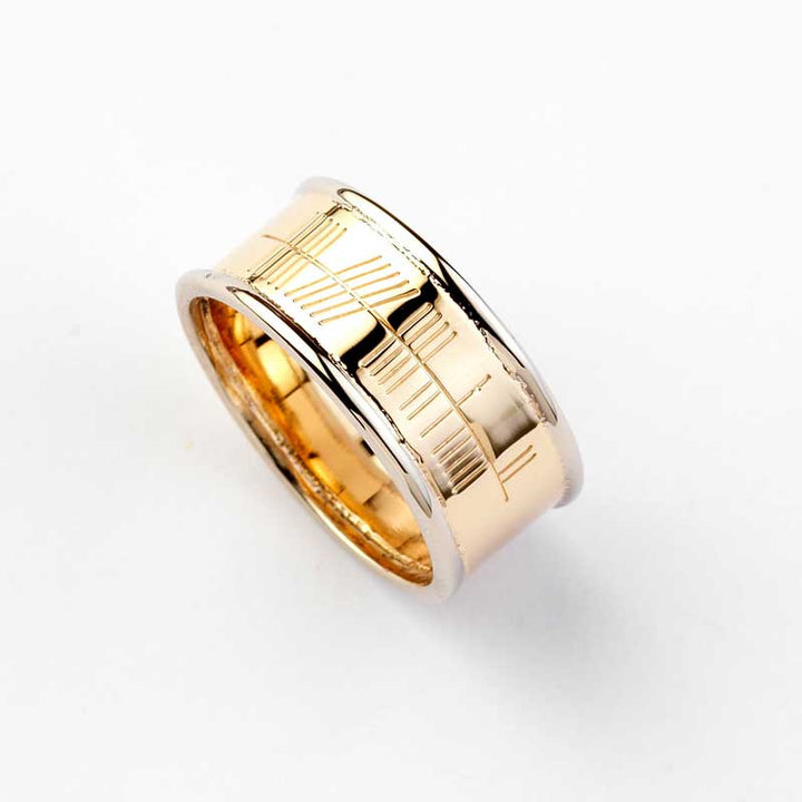 Ogham Gold Ring with White Gold Trim - Wide - Brian de Staic Celtic/Irish Jewelry