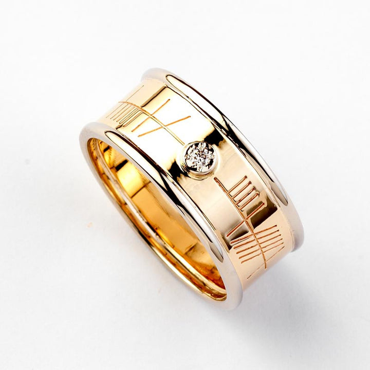 Ogham Gold Ring with White Gold Trim & Diamond - Wide - Brian de Staic Celtic/Irish Jewelry