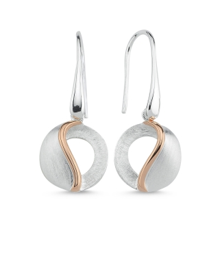 Brushed Finish & Rose Drop Earring