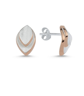 Silver & Rose Gold Brushed Leaf Earrings