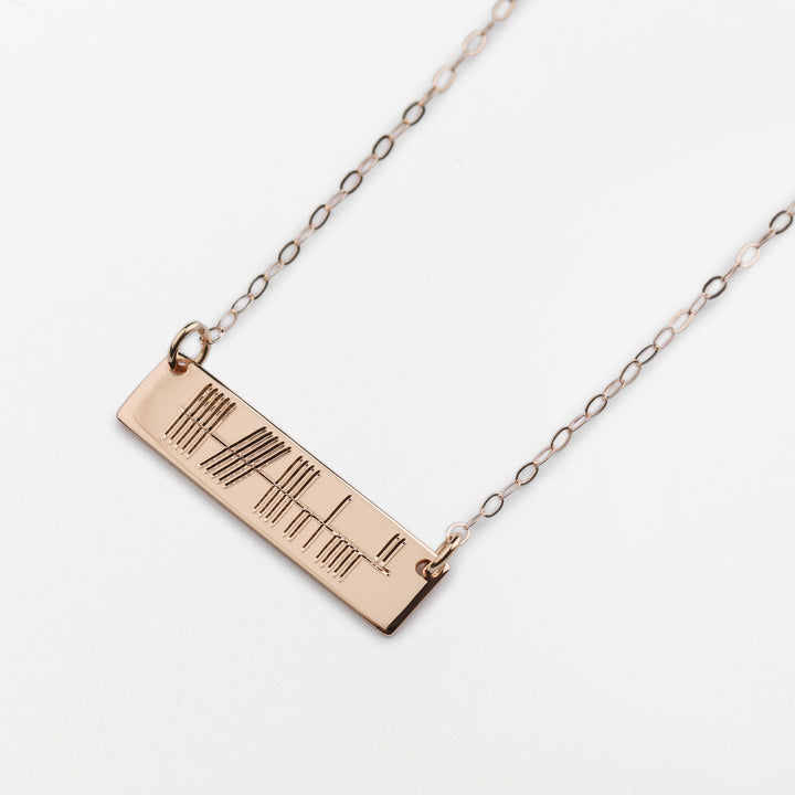 Horizontal Ogham Pendant -  Rose Gold